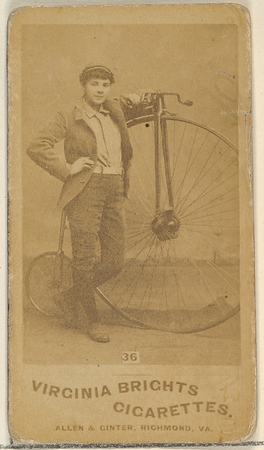 Card 36, from the Girl Cyclists series for Virginia Brights Cigarettes at the Metropolitan Museum of Art.
