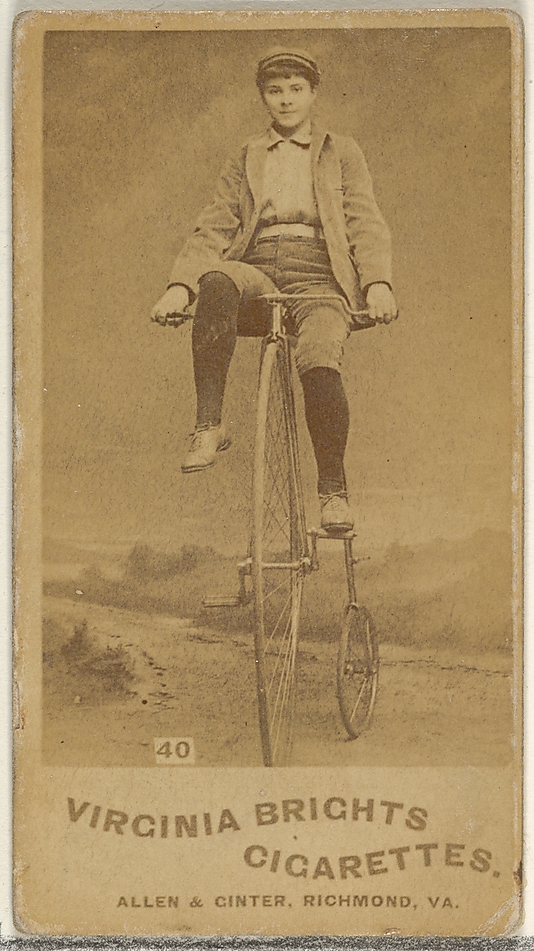 Card 40, from the Girl Cyclists series for Virginia Brights Cigarettes at The Metropolitan Museum of Art.