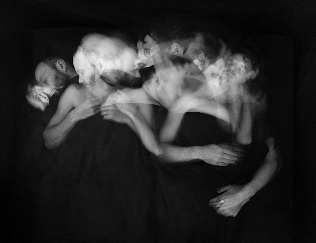 Time lapse image of sleeping lovers by artist Paul Schneggenburger.