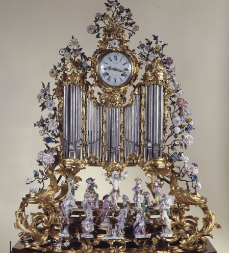 An 18th century organ-pipe clock with a porcelain monkey orchestra at Paris' Petit Palais.