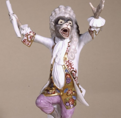 The monkey conductor, found on an 18th century organ-pipe clock at Paris' Petit Palais.