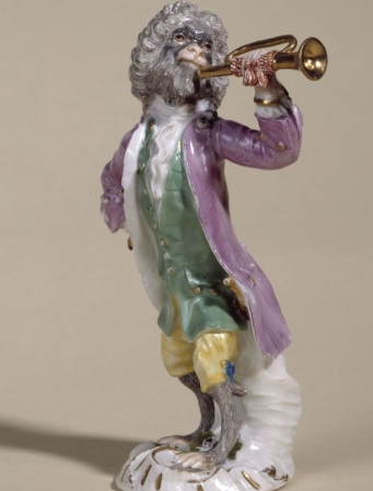 The monkey trumpeter, found on an 18th century organ-pipe clock at Paris' Petit Palais.